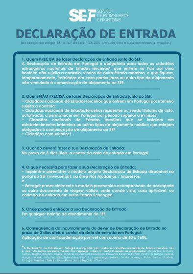 SEF Portugal - declaração de entrada no país