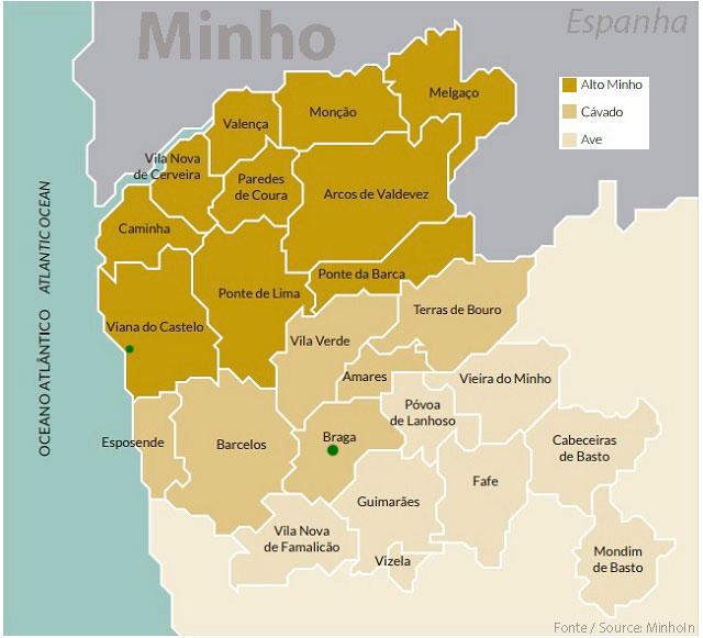 Mapa da região do Minho em Portugal
